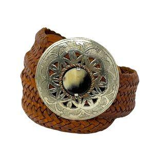 Vintage Moroccan Woven Leather Belt Horn Buckle